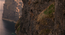 Westley scales the Cliffs of Insanity