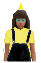 Carter Mason Long Brown Hair Half Up and Half Down with Fringe+Bangs wearing a Yellow Santa Claus Hat, and Cyan Glasses wearing a Yellow Polo Shirt with a Black Overall and looks like the Pittsburgh Penguins