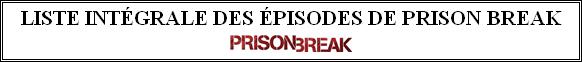 Liste intégrale des épisodes de Prison Break