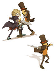 Anthony vs Professor Layton by wredwrat