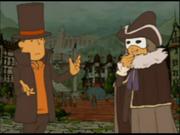 """Descole y Layton en """"EL Profesor Layton y la llamada del espectro"""""""