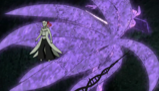 Sasuke i Naruto przecinają Obito z wspomagane Susanoo senjutsu mieczem