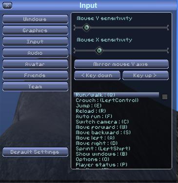 Options input