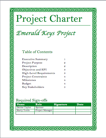 project management charter