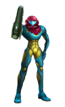 Art del traje alternativo de Samus (traje Fusión)