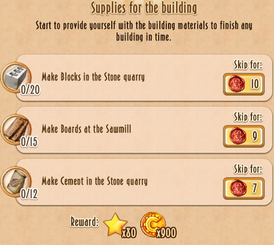 Tasks - Supplies for the building