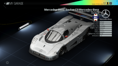 Project Cars Garage - Mercedes-Benz Sauber C9 Mercedes-Benz