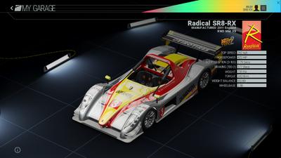 Project Cars Garage - Radical SR8-RX