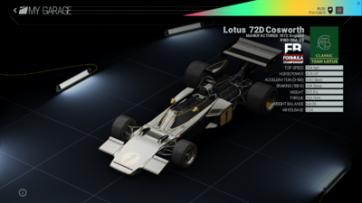 Project Cars Garage - Lotus 72D Cosworth