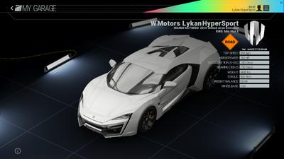 Project Cars Garage - W Motors Lykan HyperSport