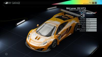 Project Cars Garage - McLaren 12C GT3