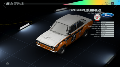 Project Cars Garage - Ford Escort Mk1 RS1600