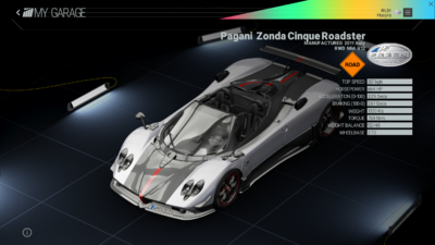 Project Cars Garage - Pagani Zonda Cinque Roadster