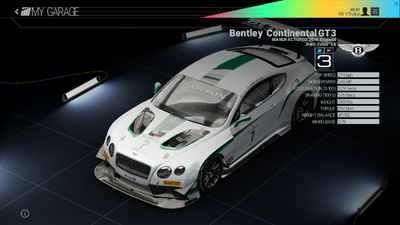 Project Cars Garage - Bentley Continental GT3