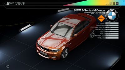 Project Cars Garage - BMW 1-Series M Coupe
