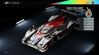 Project Cars Garage - RWD P20 LMP2