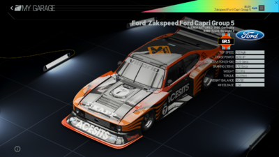 Project Cars Garage - Ford Zakspeed Ford Capri Group 5
