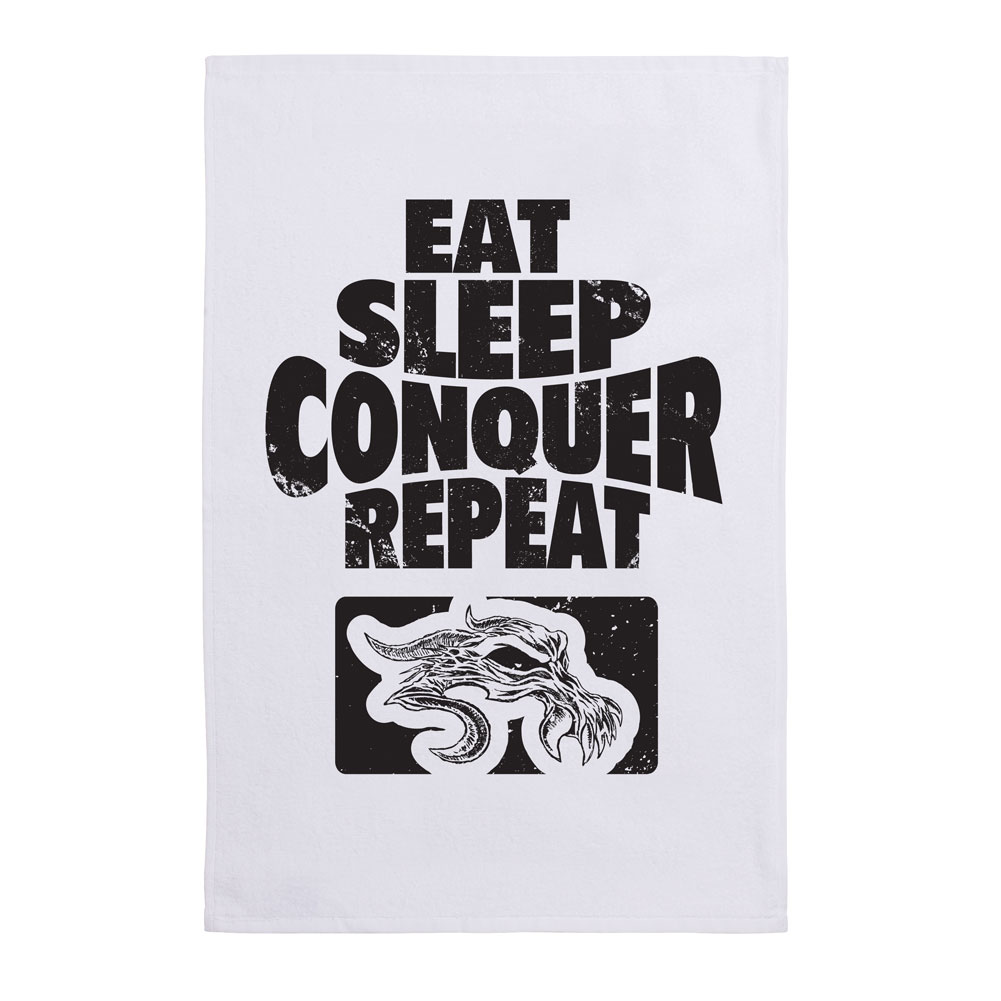 Eat Sleep Conquer Repeat Sports Towel