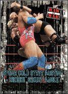 2001 WWF RAW Is War (Fleer) Stone Cold Steve Austin vs. Rikiski and Kurt Angle 88