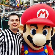 Referee Ed Dyer with Mario