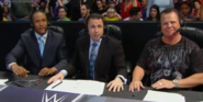 Michael Cole, Jerry Lawler and Byron Saxton commentating on SmackDown in 2015