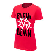 Seth Rollins Burn it Down Red Women's Authentic T-Shirt