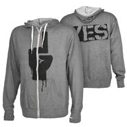 Daniel Bryan YES Rebellion Grey Lightweight Full-Zip Hoodie Sweatshirt