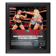Ronda Rousey Hell in a Cell 2018 15 x 17 Framed Plaque w Ring Canvas