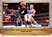 2020 WWE Countdown to WrestleMania (Topps) Becky Lynch Wins the Raw and Smackdown Women's Championships (No.19)