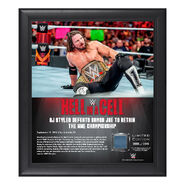AJ Styles Hell in a Cell 2018 15 x 17 Framed Plaque w Ring Canvas