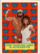 1987 WWF Wrestling Cards (Topps) Sticker Randy Savage & Elizabeth 4