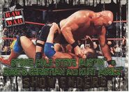 2001 WWF RAW Is War (Fleer) Stone Cold Steve Austin vs. Edge & Christian & Kurt Angle 91