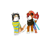 Asante as Undyne with Shiraz as Temmie