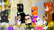 Pups celebrating New Years Eve tittle card