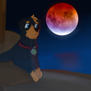 Ares watching super blood moon