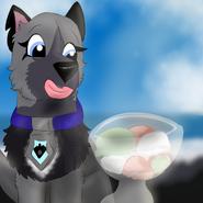 Eyra on Punalu'u beach with bowl of ice crean
