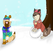 Tristan and Choco throing snowballs december challenge day 2
