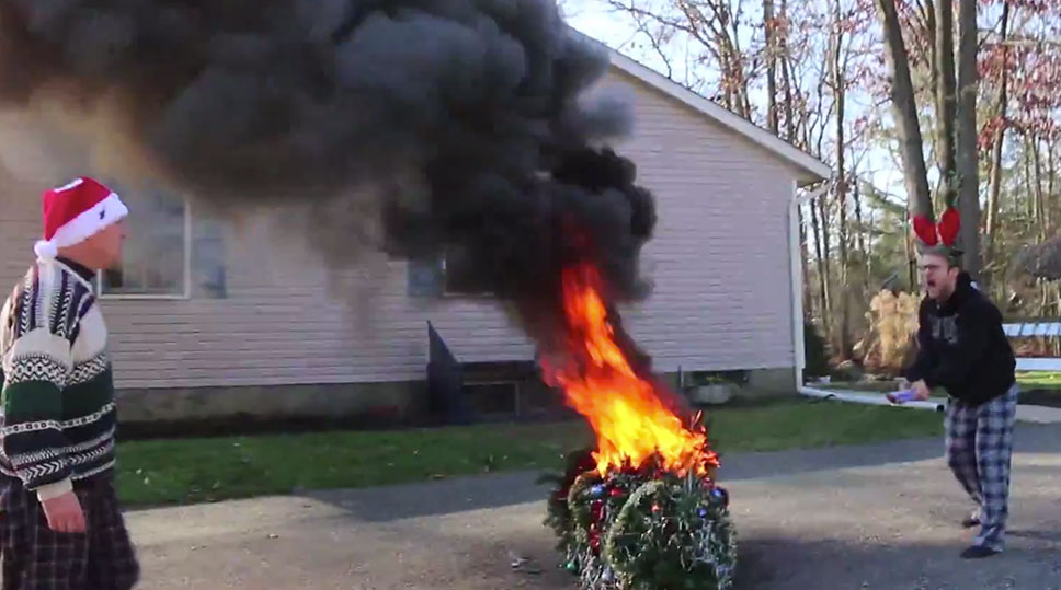 psycho kid torches christmas tree