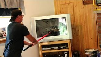 PSYCHO DAD SMASHES TV!