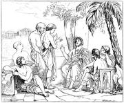 Plato i sin akademi, av Carl Johan Wahlbom (ur Svenska Familj-Journalen)