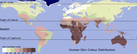 Map of skin hue equi