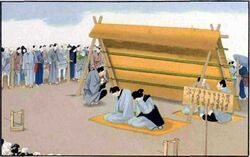 Man and woman undergoing public exposure for adultery in Japan-J. M. W. Silver