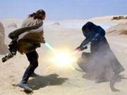 Darth Maul duela com Qui-Gon Jinn em Tatooine