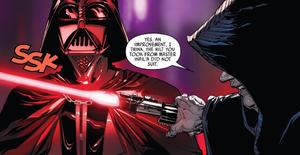 Sidious inspeciona sabre de Vader