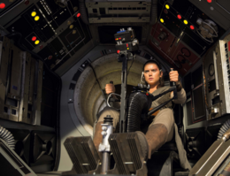 Rey in Falcon Turret TLJ