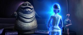 Padme fala com Jabba