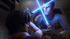 Kanan and Ezra lightsaber practice