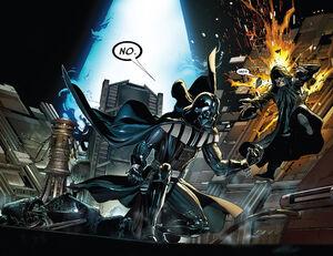 Vader empurra Sidious com a Força
