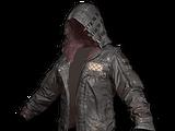 Skórzana kurtka z kapturem (czarna)