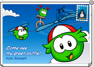 Green Puffle postcard
